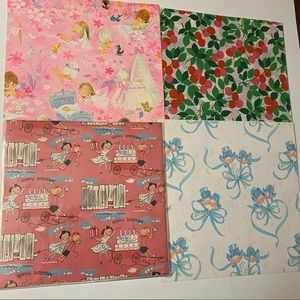 Vintage childrens gift wrap lot of four